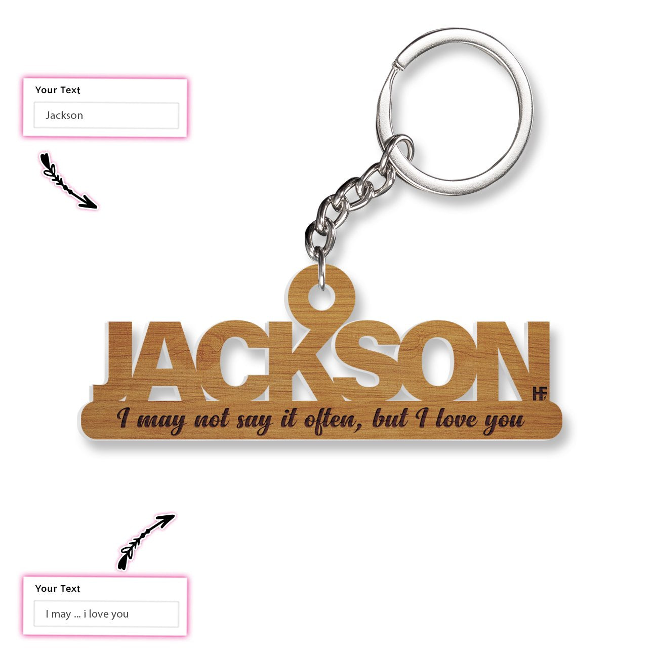 Personalized Gift I Love You EZ22 2701 Custom Keychain