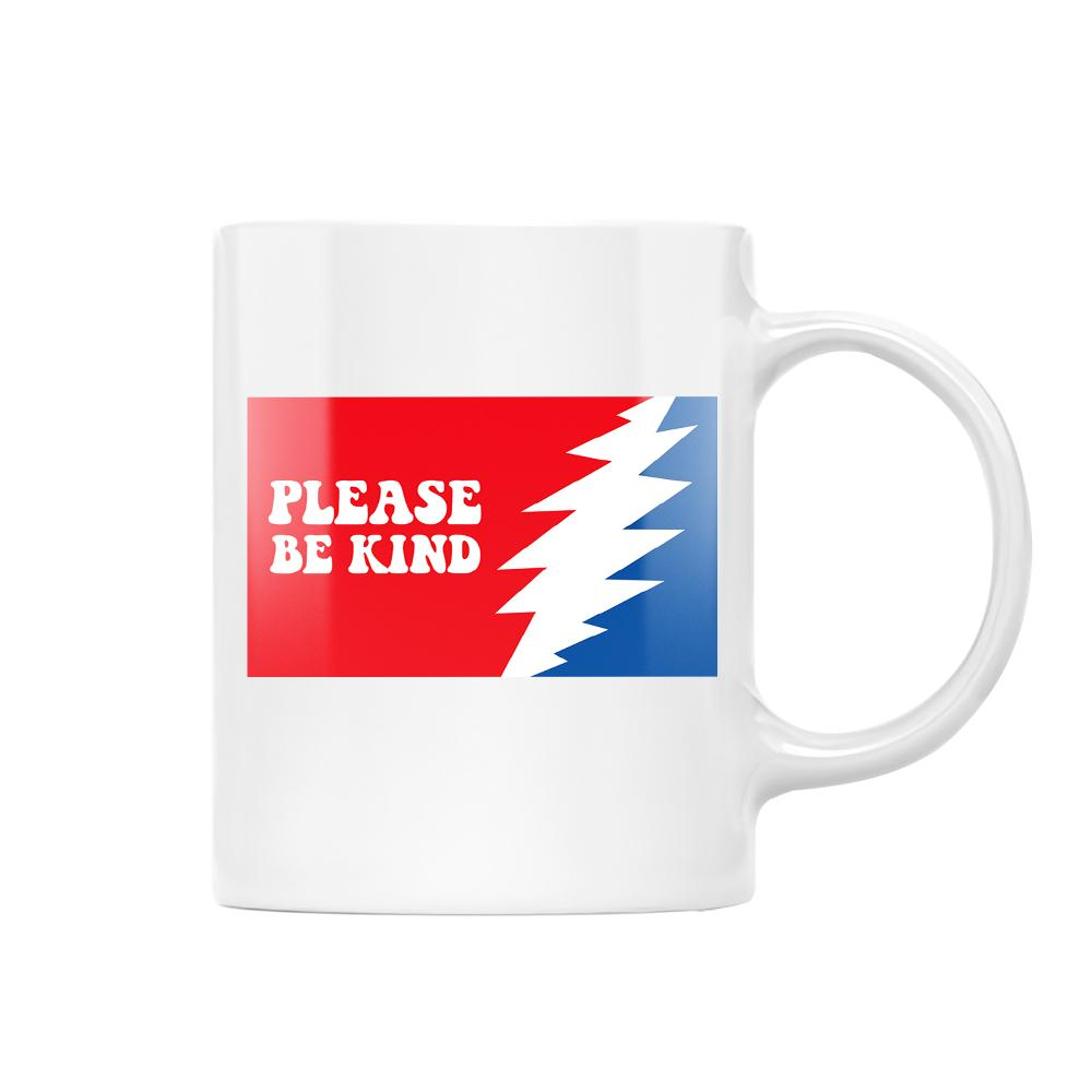 Please Be Kind Flag Grateful Dead Day Hippie EZ25 1012 White Mug