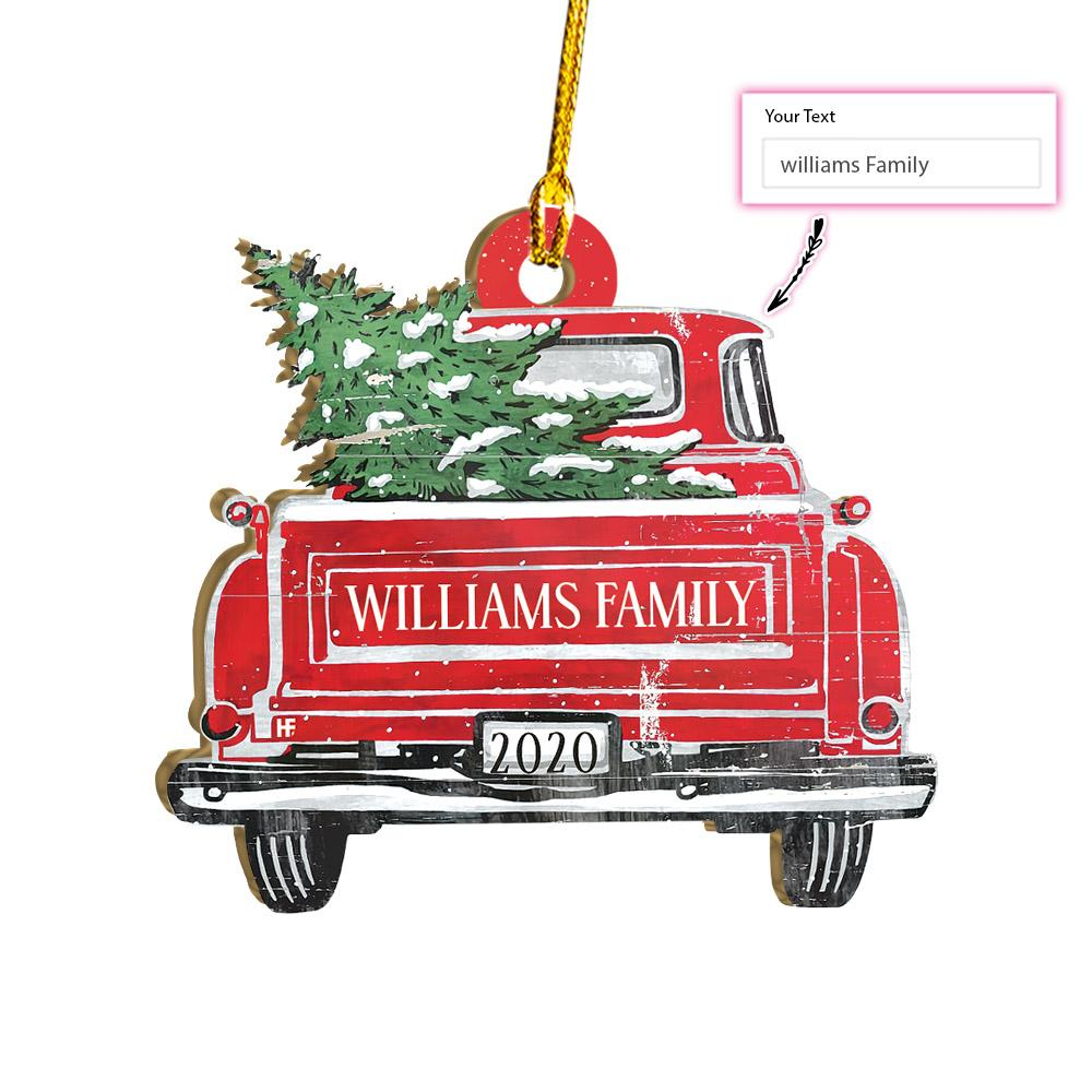 Red Truck Family Name With Christmas Tree Christmas EZ24 2311 Custom Ornament