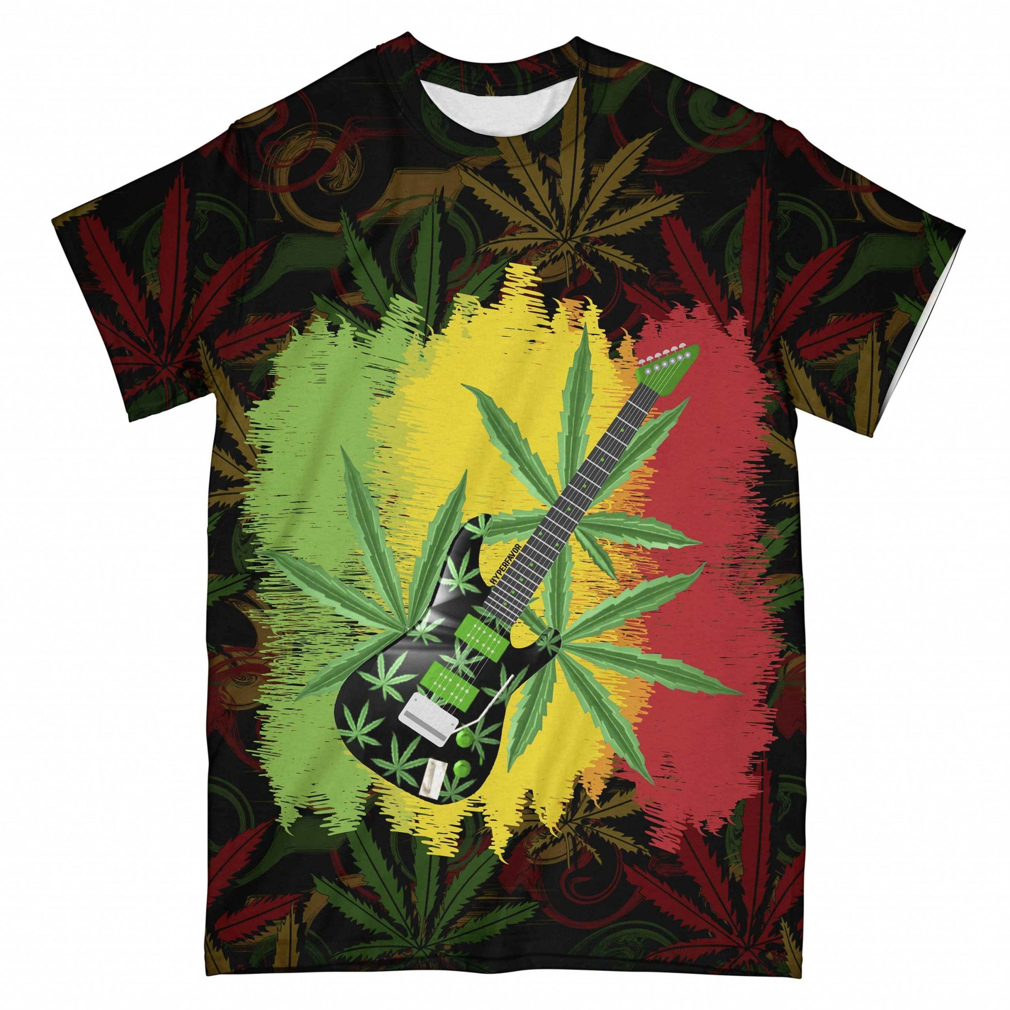 Reggae Guitar Weed EZ10 0804 All Over T-Shirt