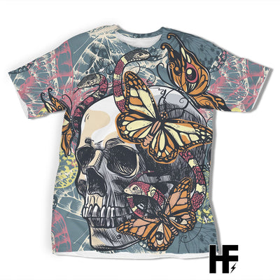 Skull Butterfly and Snake EZ06 1203 All Over T-Shirt