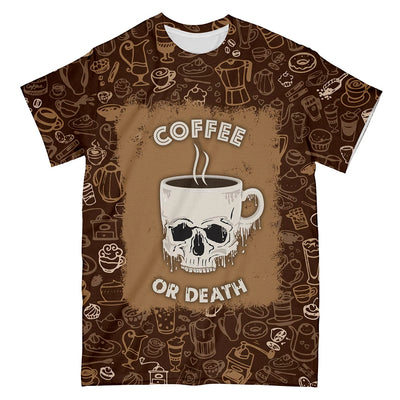 Skull Drinking Coffee EZ10 1803 All Over T-Shirt