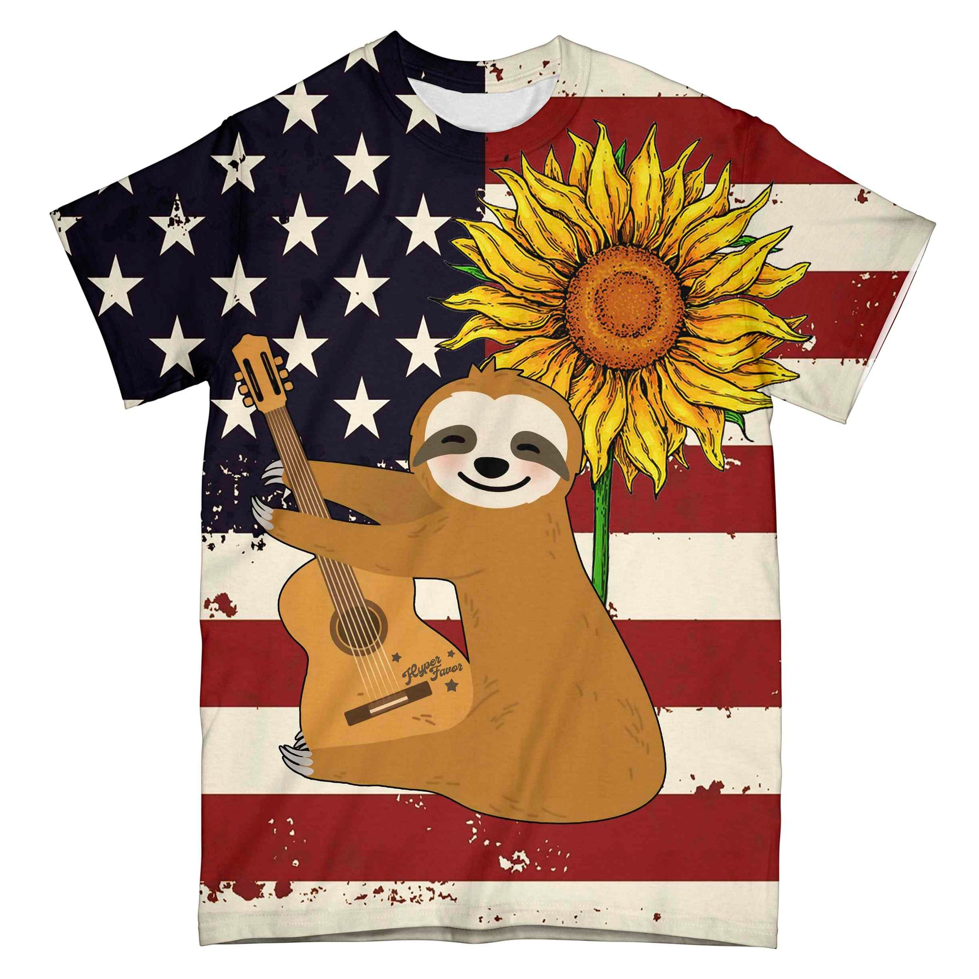 Sloth Guitar American Flag EZ10 0304 All Over T-Shirt