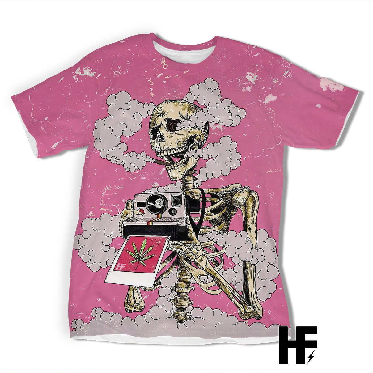 Smoking Skeleton Pink EZ08 2403 All Over T-shirt