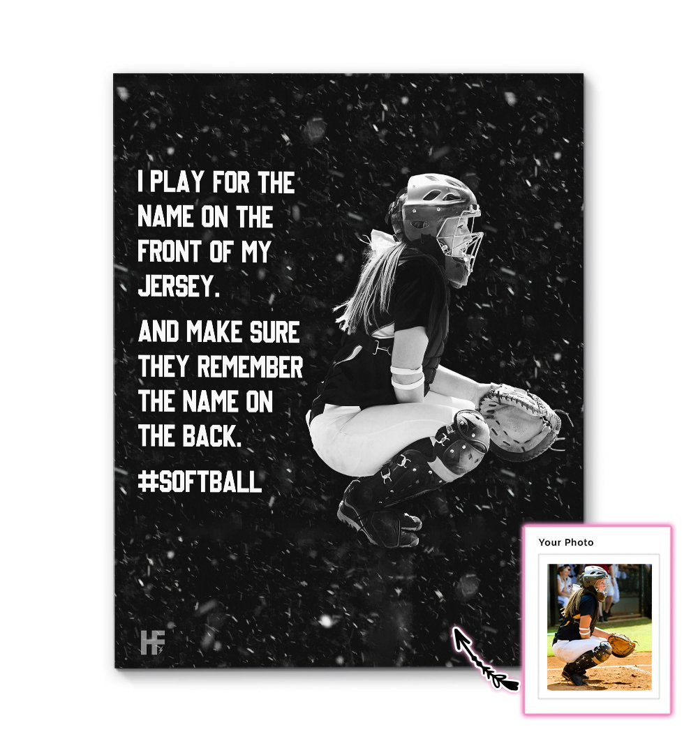 Softball Girl Playing For The Front Of Her Shirt EZ21 2611 Custom Canvas