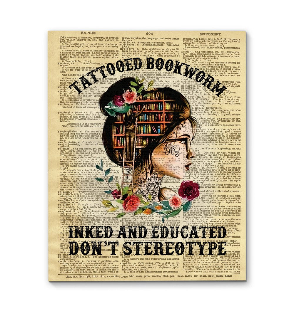Tattooed Bookworm Inked And Educated Reading EZ01 2409 Canvas
