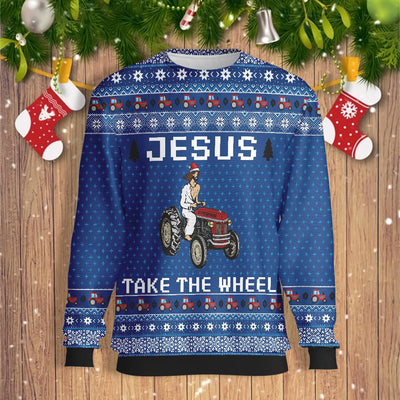 Tractor Jesus Take The Wheel Farmer EZ23 0610 All Over Print Sweatshirt
