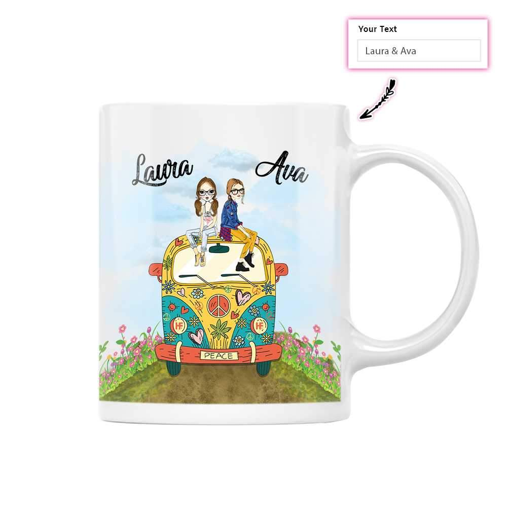 Two Girls And Volkswagen EZ25 1812 Custom White Mug