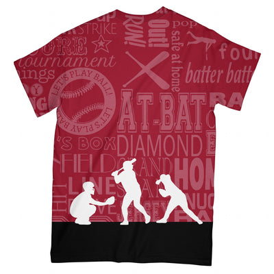 Typography Baseball Scarlet Red EZ07 2603 All Over T-Shirt