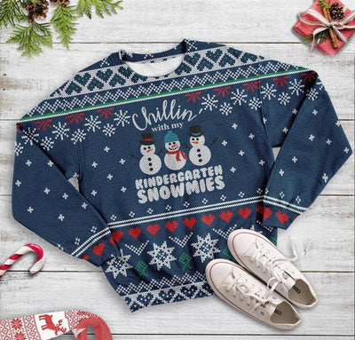 Ugly Christmas Chillin' With My Kindergarten Snowmies Teacher EZ12 1310 All Over Print Sweatshirt