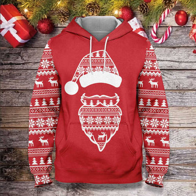 Ugly Christmas Pattern Santa Claus Face EZ20 1210 All Over Print Hoodie
