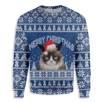 Ugly Merry Christmas Annoyed Cat EZ20 0910 All Over Print Sweatshirt