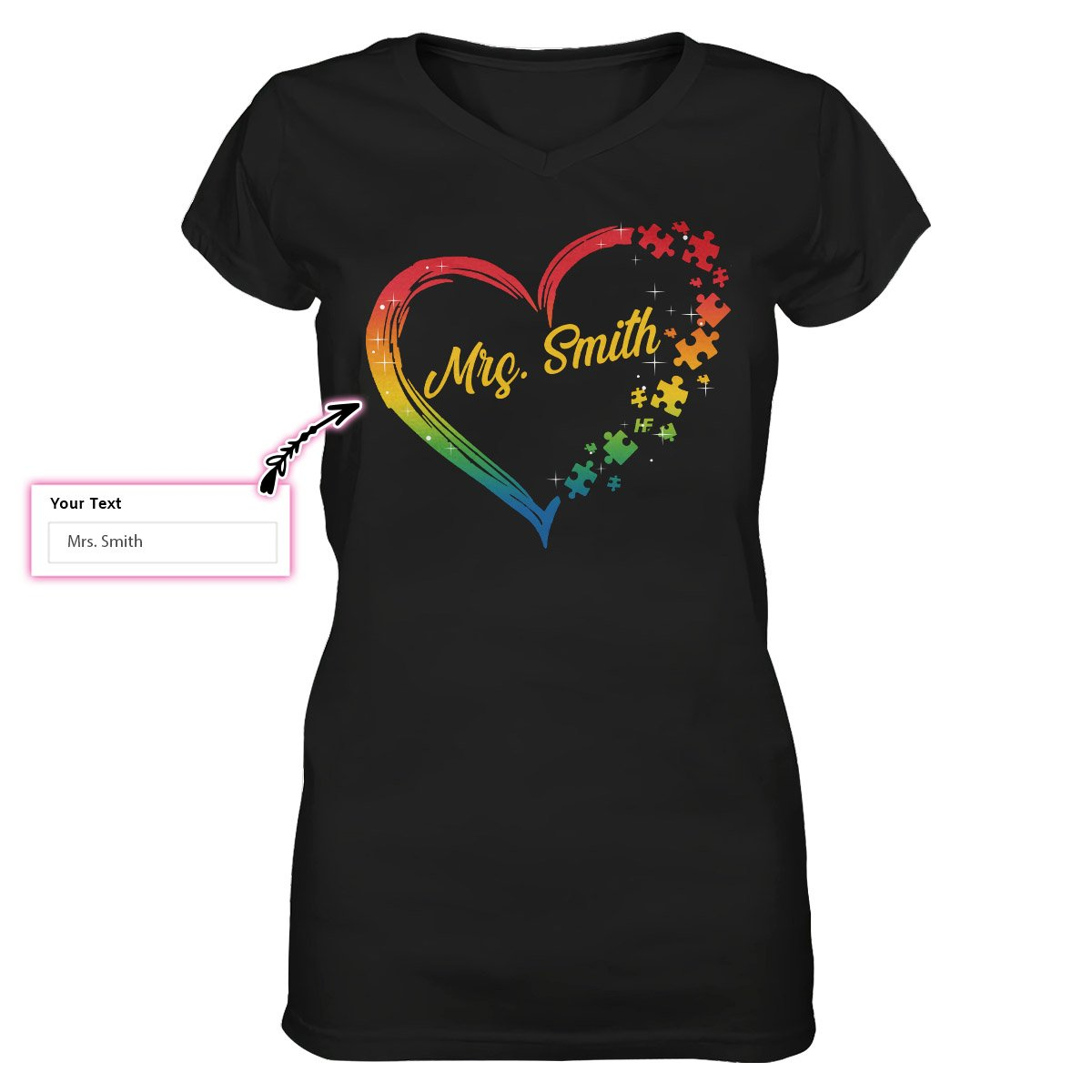Autism Puzzle Heart Personalized EZ15 1509 Custom Women V-neck T-shirt