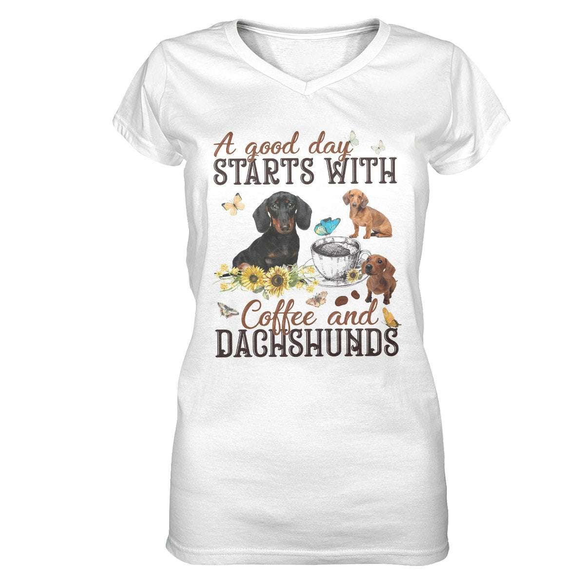 Dachshunds A Good Day Start With Coffee EZ07 2309 Women V-neck T-shirt