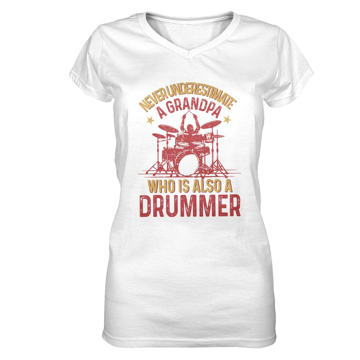 Never Underestimate A Grandpa Who Is Also A Drummer EZ23 0901 Women V-neck T-shirt