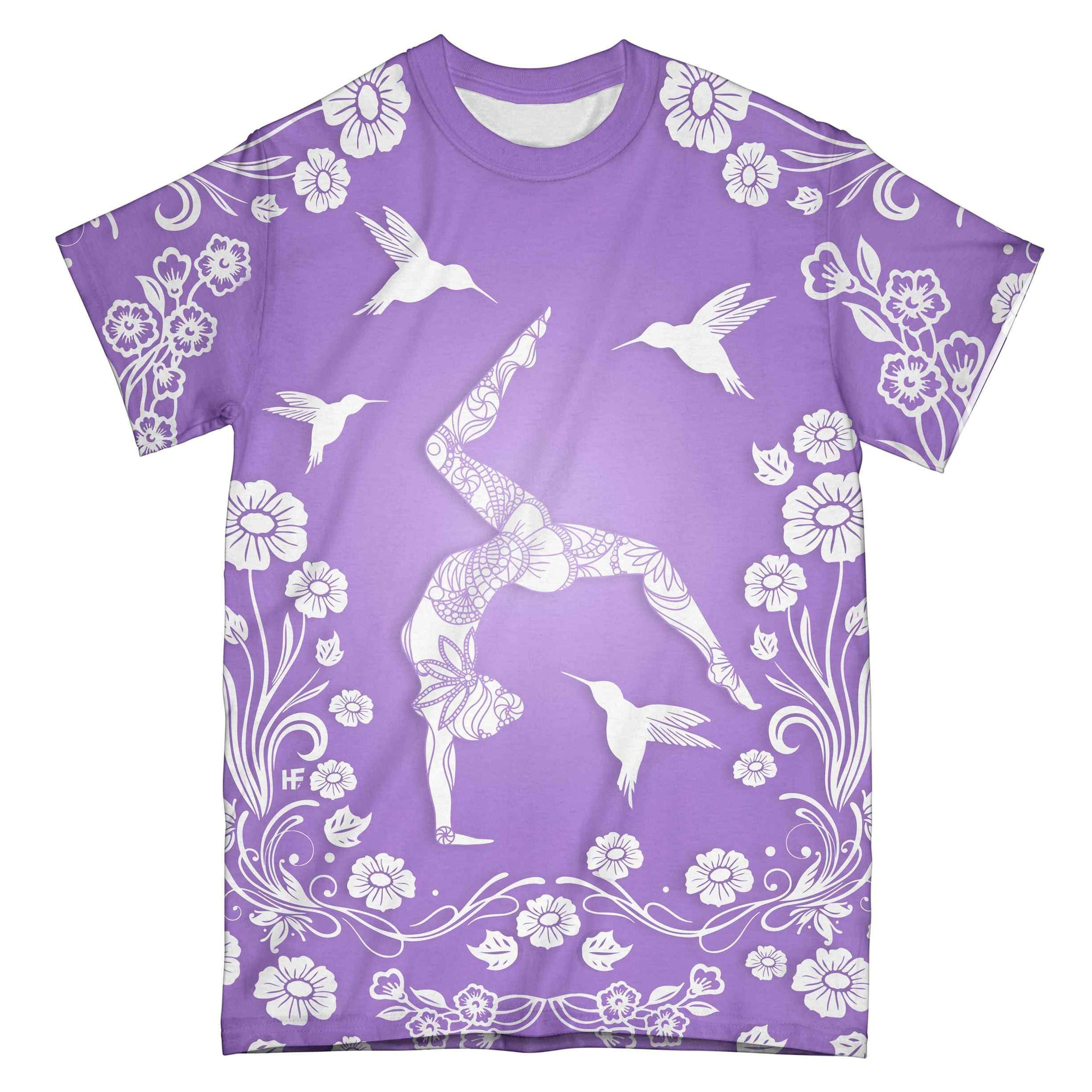 Yoga Floral Hummingbird Papercut EZ07 0704 All Over T-Shirt