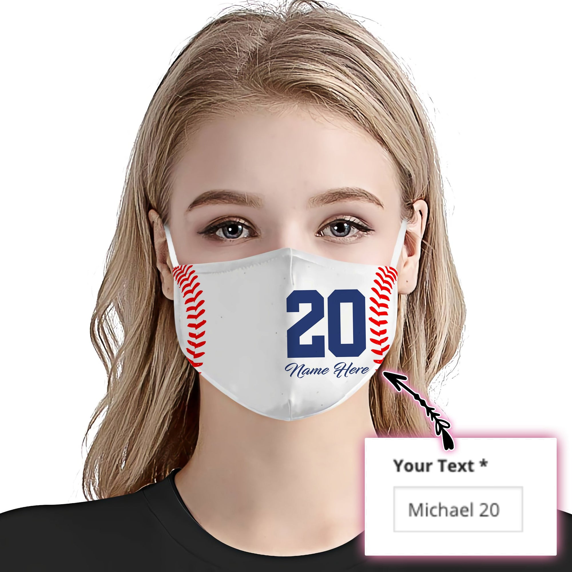 Personalized Baseball Name And Number 01 EZ01 2805 Custom Face Mask