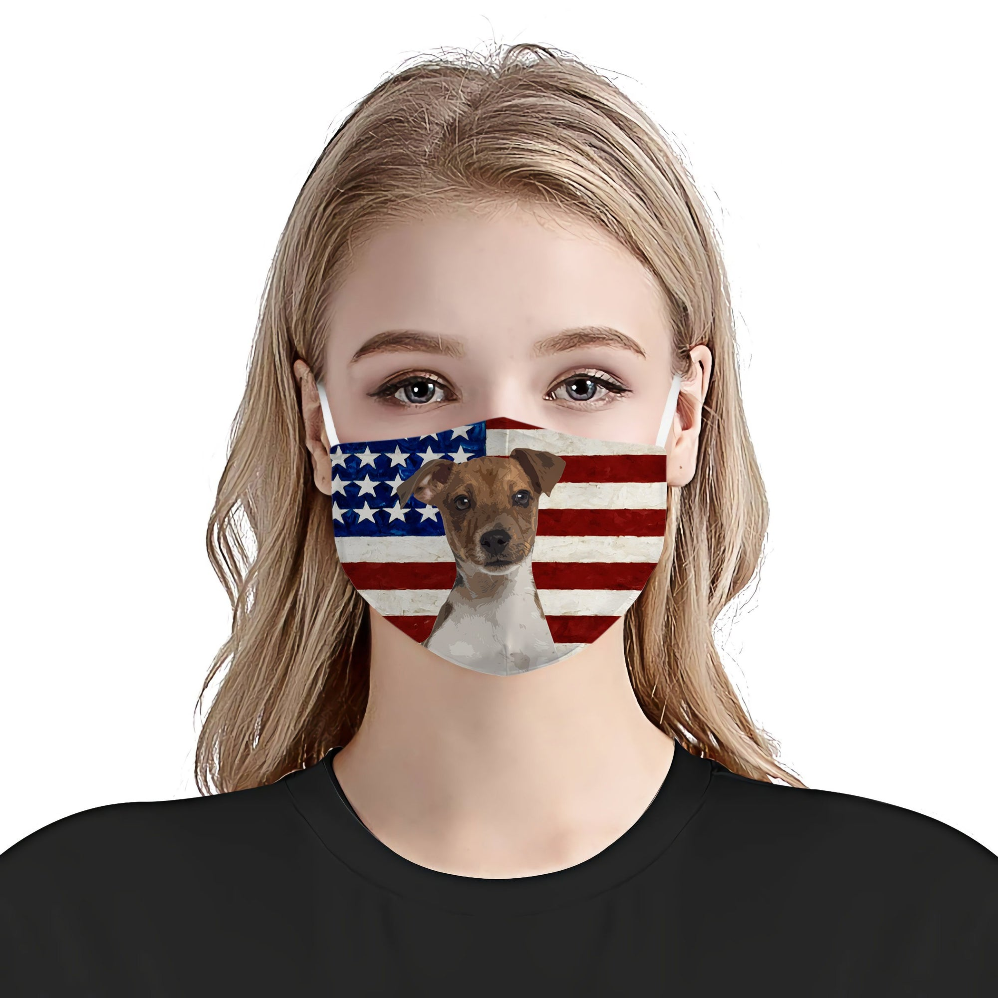 Jack Russell Terrier With American Flag EZ01 1604 Face Mask