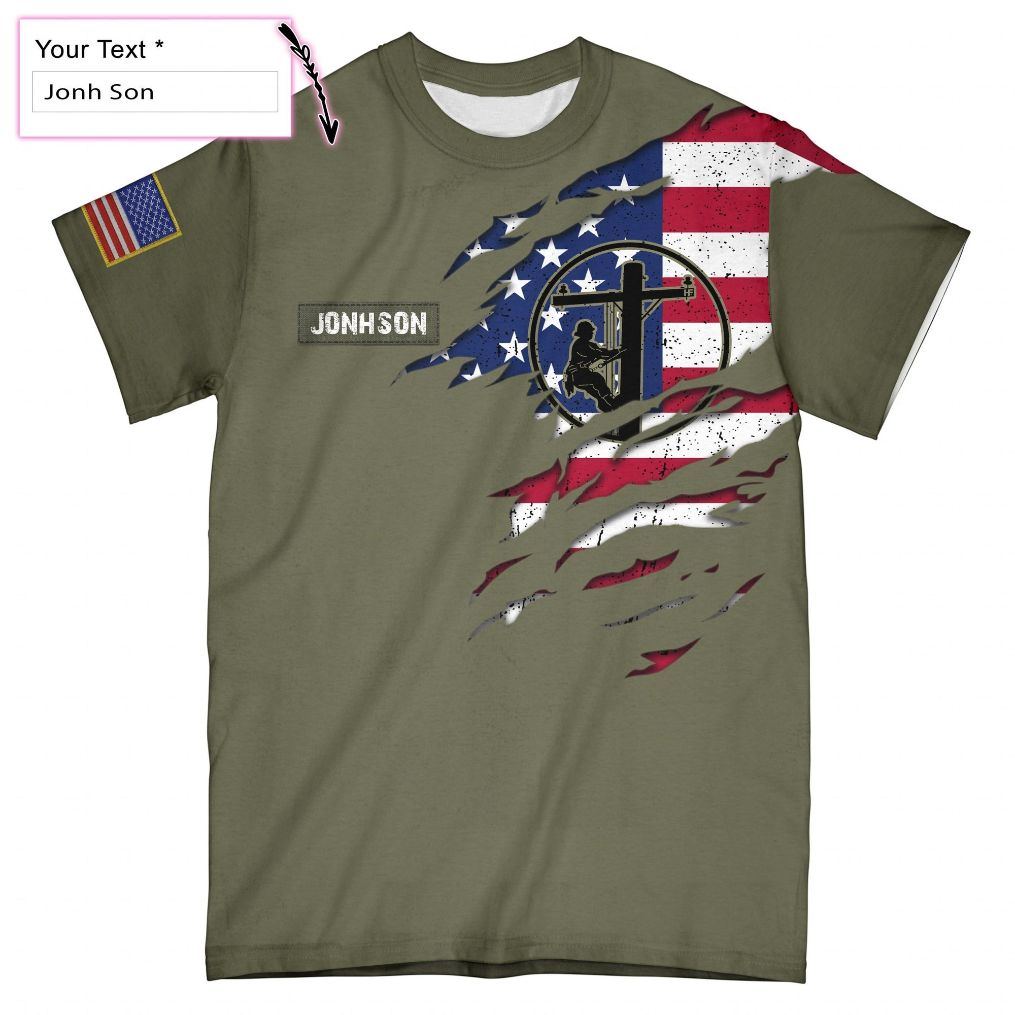 Personalized Lineman US Flag EZ05 2708 Custom All Over T-Shirt