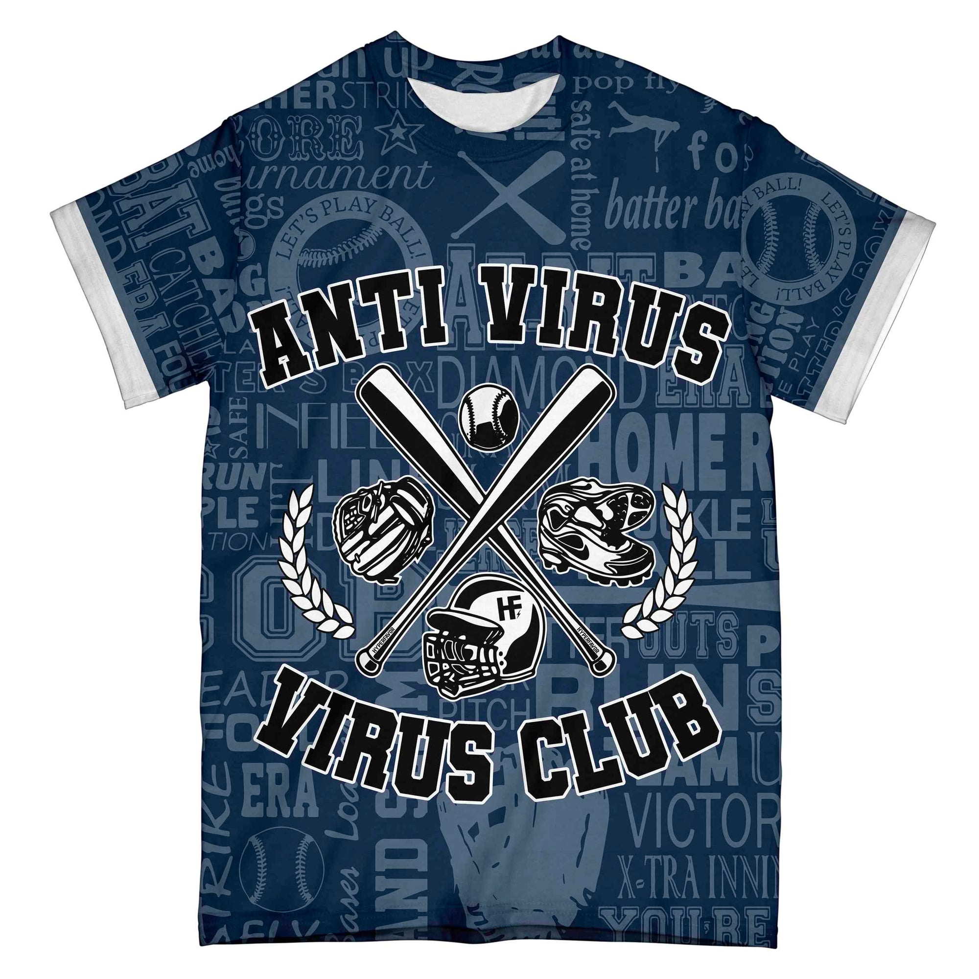 Baseball Anti Virus Virus Club Navy EZ07 0304 All Over T-Shirt