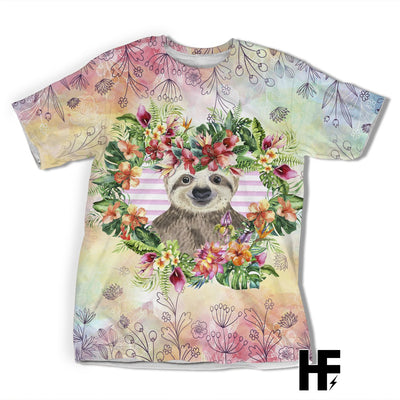 Just A Girl Who Loves Sloth Tropical EZ05 1603 All Over T-shirt