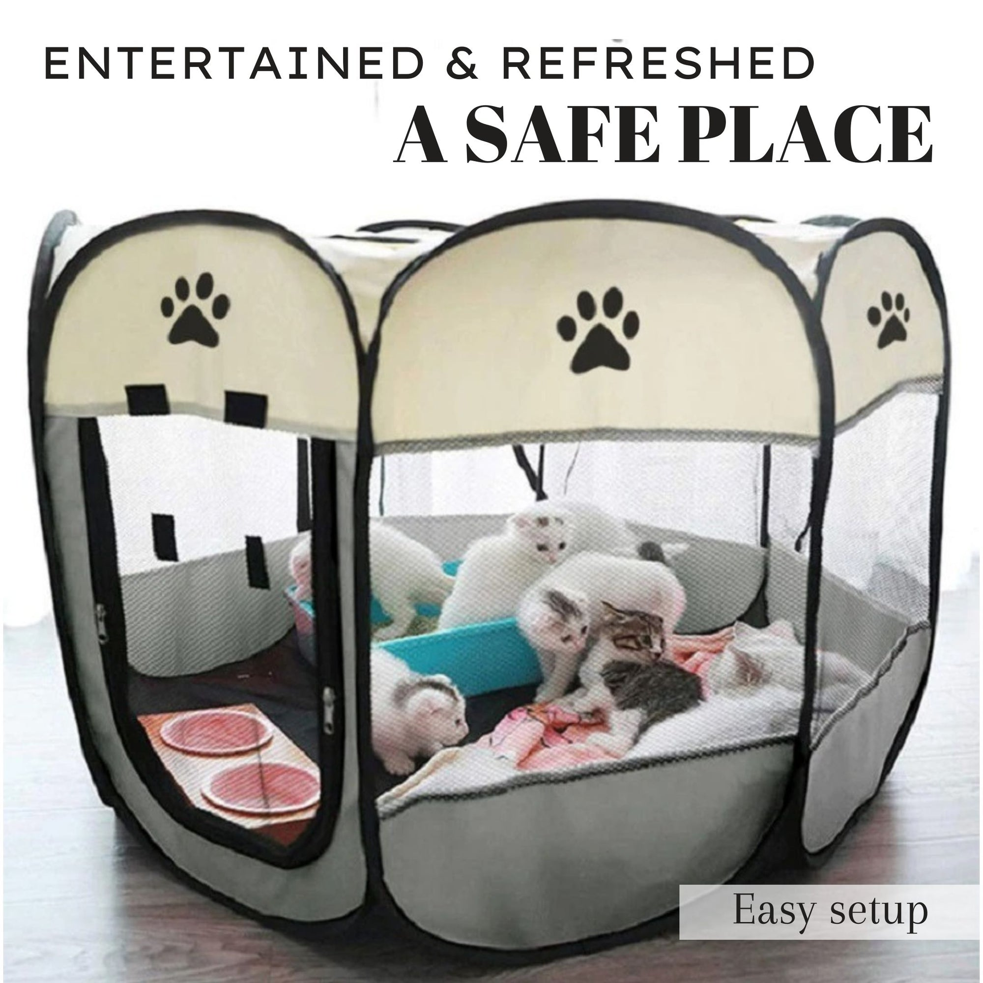 Portable Folding Pet Carrier Tent  Playpen Breathable Easy Operation Octagon Fence Outdoor Removable Puppy Kennel Bed For Cats