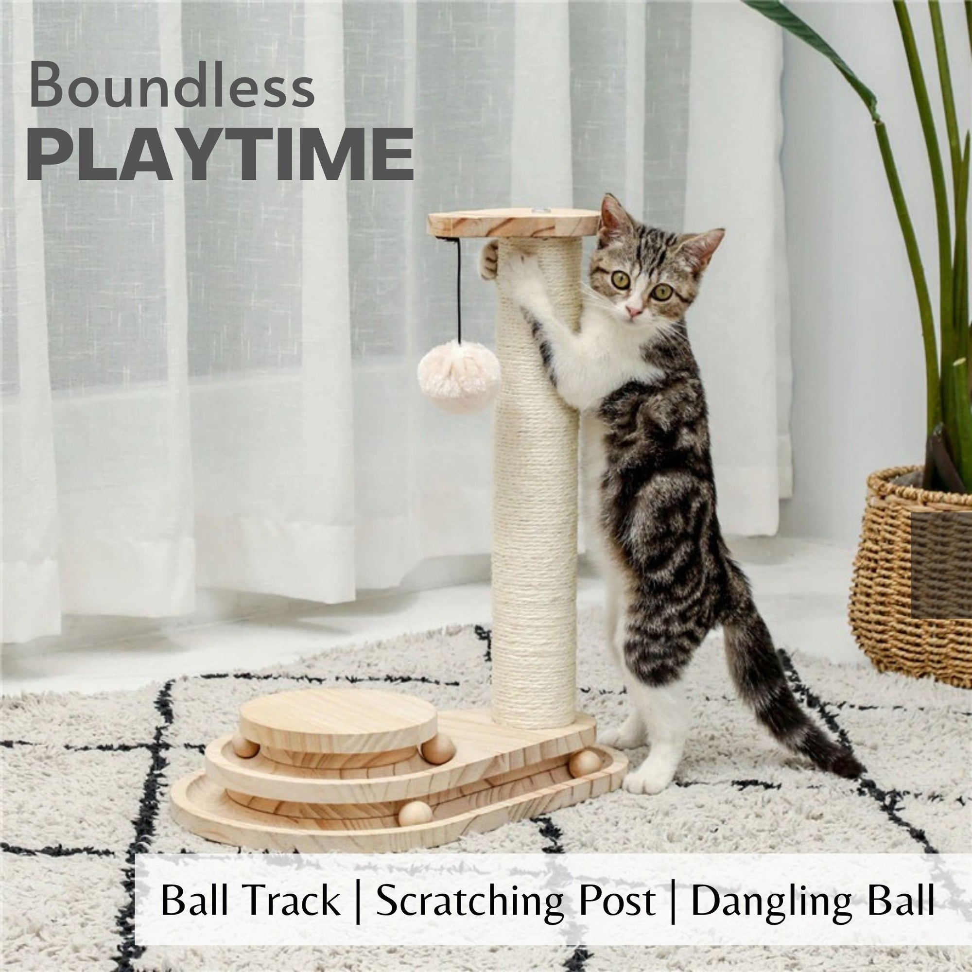 Interactive Wooden Cat Toy Double Layer Rotating Smart Track Ball Cat Scratching Post With Dangling Ball Pet Interactive Toys