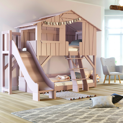 Treehouse Bunk Bed + slide w/platform (colour options)
