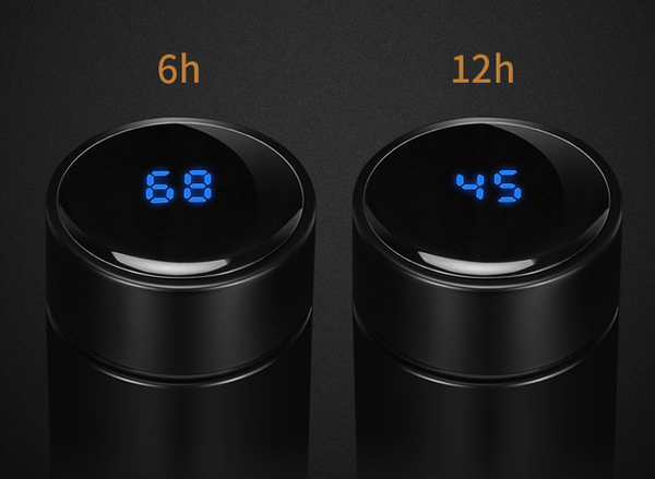 Intelligent temperature display vacuum insulated water bottle,leak proof,stainless steel thermos coffee travel mag BPA-free thermos keep cold 24H keep warm 12H,17OZ (black) - Ecart
