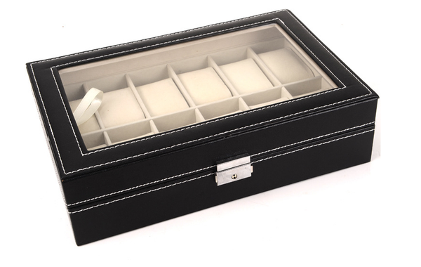 12 Piece Chocolate Brown Leatherette Men's Watch Box Display Case Collection Jewelry Box Storage Glass Top Father's Day - Ecart