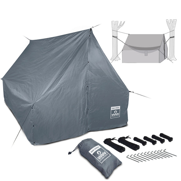 Oak Creek Advanced Camping Hammock Rain Fly.  Lightweight PU 2000 Waterproof 190T Polyester Tarp with Two Guy Lines, Four 8 Foot Guy Lines, Twelve 6 Inch Metal Stakes, 3 Tarp Repair Clips, and Carry Bag. 110