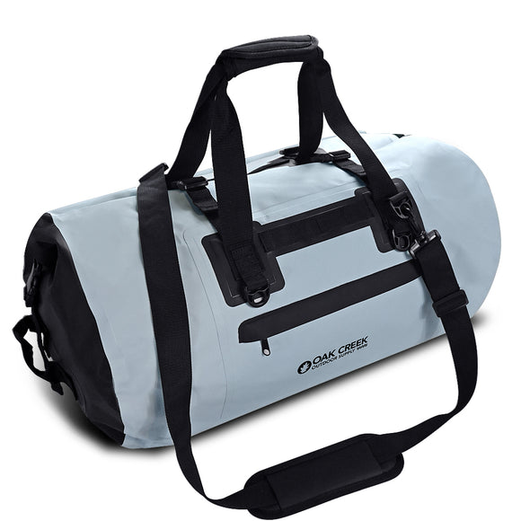 "Overlook Falls Premium Waterproof Dry Bag Duffel.  Heavy Gauge PVC Construction with Padded Shoulder Strap and Handle, Roll Top Buckle Closure and Zippered Front Pocket. Multi-Functional for Outdoor Activities. 55L 12"" H x 25"" W"