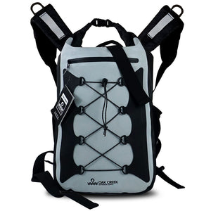 "Canyon Falls Premium Waterproof Dry Bag Backpack. Heavy Gauge PVC Construction with Padded, Adjustable Shoulder Straps, Roll Top Buckle Closure and Zippered Front Pocket. Multi-Functional for Outdoor Activities. 30L 18"" H x 12"" W"