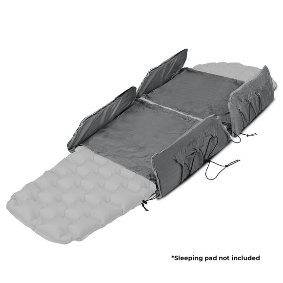 "Oak Creek Hammock Sleeping Pad Extender Set. Closed Cell Foam Provides Insulation from the Elements and Fits All Adult Hammock Sizes.  Includes Two Lightweight and Fully Adjustable Extenders and Weighs 0.5 lbs. Pack Size: 20"" L x 7.5"" W x 2"" H"