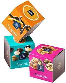 A Delightful Selection of set of 3 Leonidas Candied Chocolate Orange Peel Cube's, Assorted Mendiants, Chocolate Covered Almonds (200g Each) 600g Leonidas Kensington