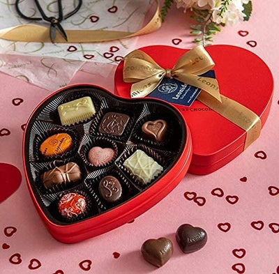 Leonidas Charming Heart Shaped Tin with 9 Piece Assorted Belgian Chocolates 135g Leonidas Kensington