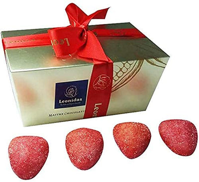 Strawberry Marzipan Rolled in Sugar, Leonidas Belgian Ballotin Gift. Leonidas Kensington