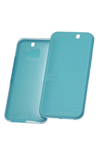 HTC One (M9) Dot View Case - Turquoise Blue + FREE Genuine Screen Protector Pack