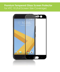 HTC 10 Tempered Glass Screen Protector Pack (Black)