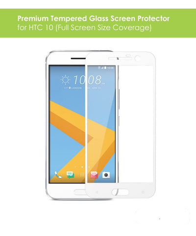 HTC 10 Tempered Glass Screen Protector Pack (White)