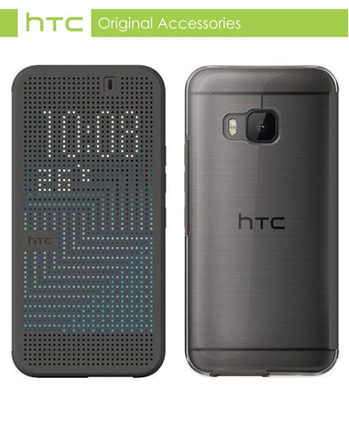 HTC One (M9) Dot View Case - Onyx Black with FREE Genuine Screen Protector Pack