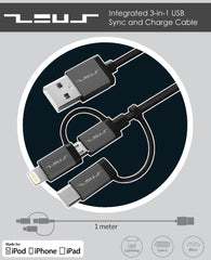 ZEUS integrated 3-in-1 Sync and Charge Cable (Type C/Lightning/Micro)