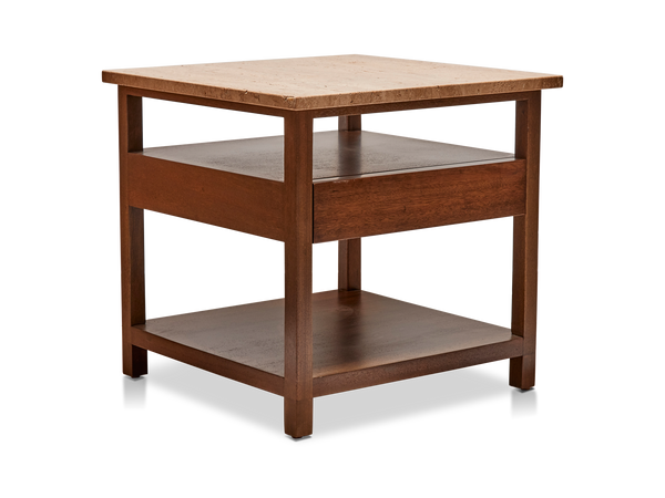 Travertine Topped Side Table by Harvey Probber Inc.