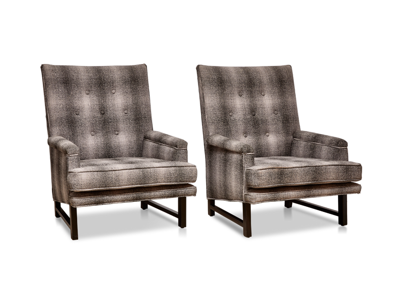 Pair of Plaid Lounge Chairs by Edward Wormley for Dunbar