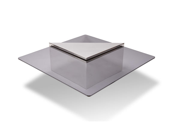 Brueton: Cantilevered Glass and Polished Steel Coffee Table