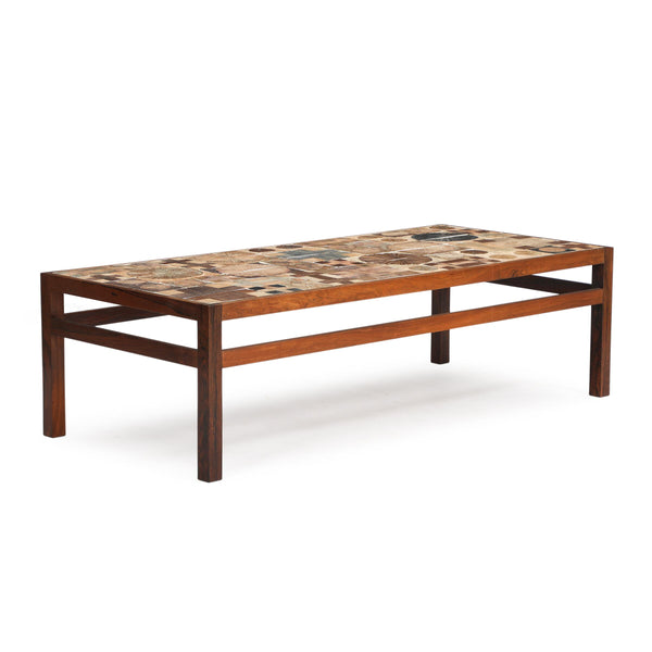 Tue Poulsen: Coffee Table w Rosewood Frame and Stoneware Tile Top