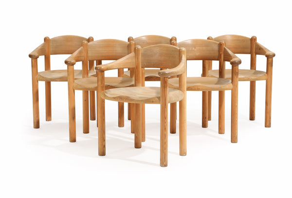 Rainer Daumiller: Set of Six Solid Pine Armchairs.