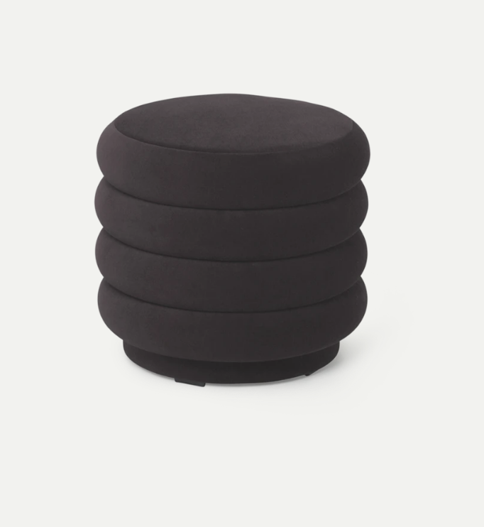 Faded Velvet Pouf - Small - Chocolate