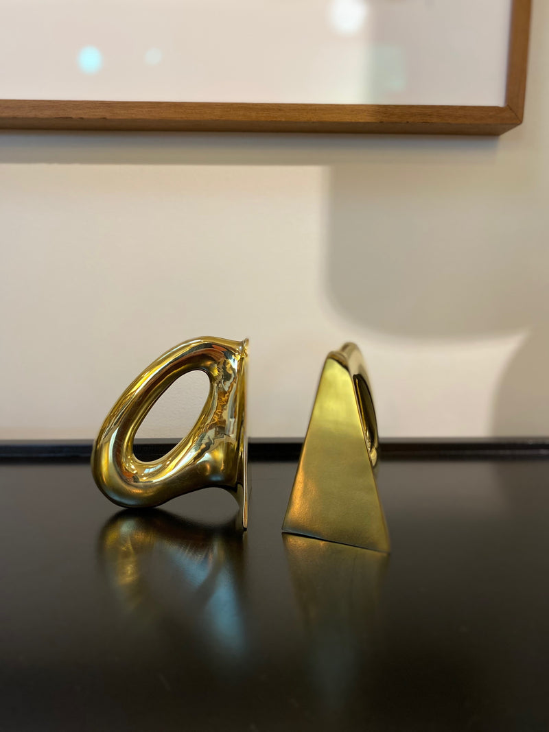 Brass Oval Bookends