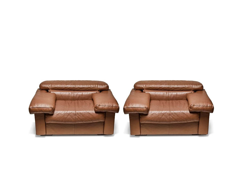 Leather Lounge Chairs by Tobia Scarpa